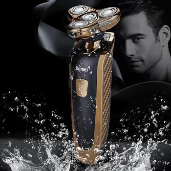 KM Electric Razor Floating 4 Blade Heads Wireless Gold Man Beard Shaver Борода