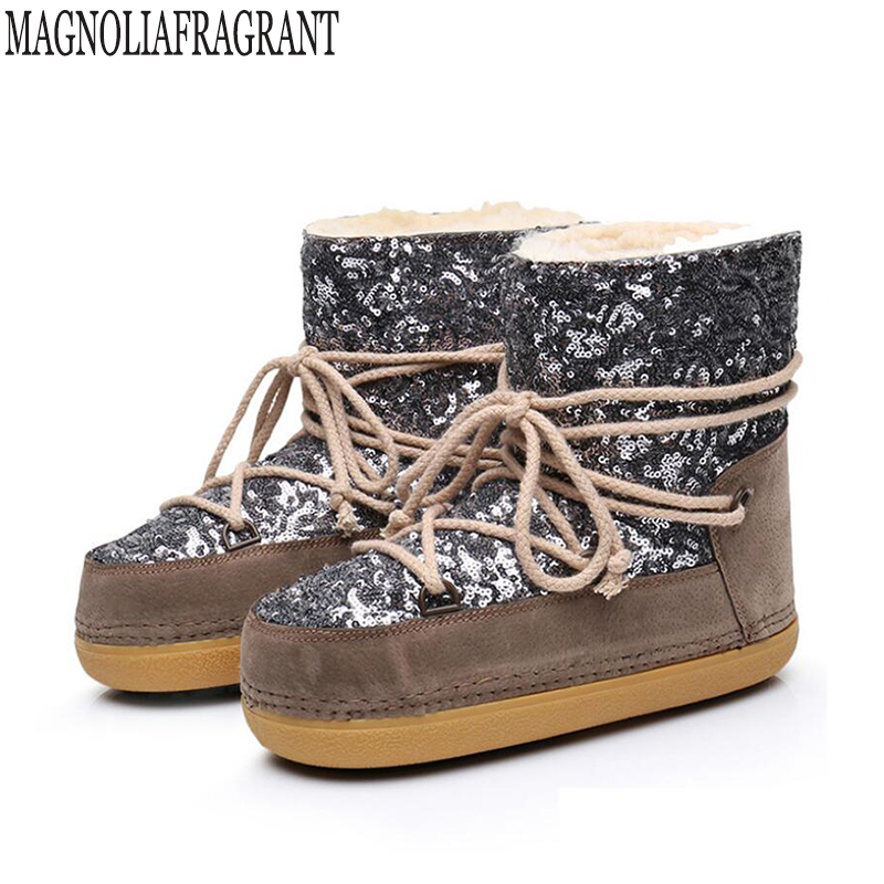 Women Space Boots Plus cashmere Warm sequins Women Ankle Boots Casual Snow Boots Shoes Safety Shoes