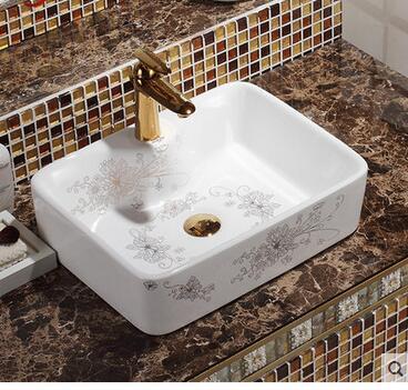 Керамическая раковина на сцене квадратной раковины чаши для ванной комнаты мозаика Золотая декоративная раковина в виде миски
