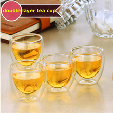 80/250/350/450ml Double Layer Cup Chinease Kung Fu Tea Insulation Anti-hot Hand Transparent Water Juice 1pcs S