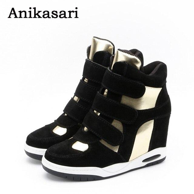17f3898c0bc Zapatos de mujer botas de tobillo de cuero genuino zapatillas de cuña de  plataforma alta para