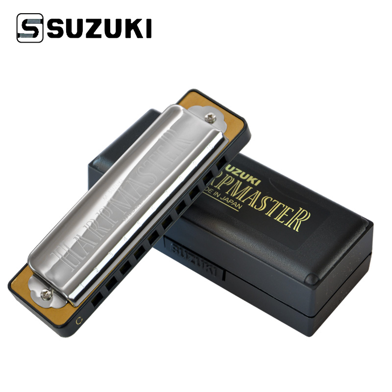 Suzuki MR-200-C Harpmaster Standard 10-Hole Diatonic Harmonica / Blues Harp, Key of C suzuki c 20 olive 10 hole diatonic blues harmonica major key of c a d g e f plugb