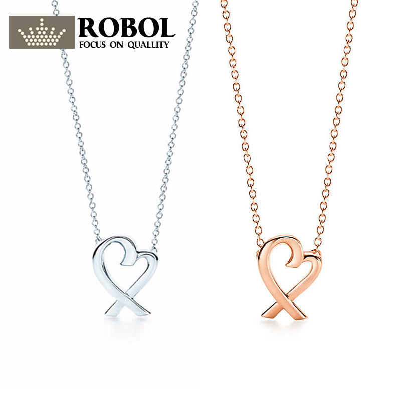 ROBOL Heart Necklace Heart-Shaped Pendant s925 Sterling Silver Pendant Necklace Nature Fashion Joker Jewelry Package Mail