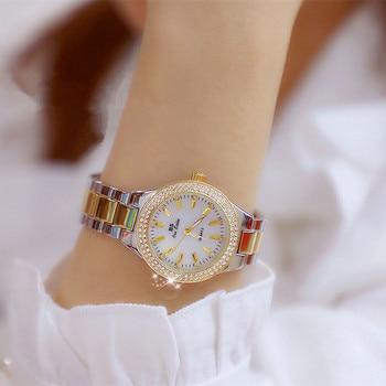 2019 Luxe Merk Lady Crystal Horloge Vrouwen Jurk Horloge Fashion Rose Gold Quartz Horloges Vrouwelijke Rvs Horloges