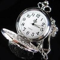 2010 Silver Tone Antique Mens Artistic Pocket Quartz Watch Freeship