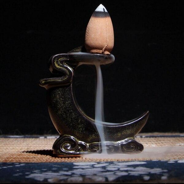 Small Backflow Tea Ceramic Incense Burner Holder Buddhist Sandalwood Cones Figurine India Mandala Crafts Decor Miniatures