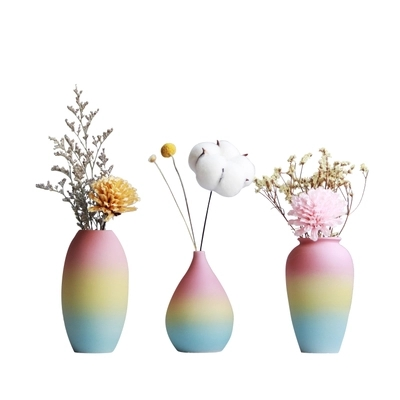 Rainbow Flower Vase Home Decoration Ceramic Small Vase Ornaments In