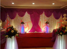 Wedding 3mx6m backdrop wedding stage backdrop decoration stage background with Beatiful Swag