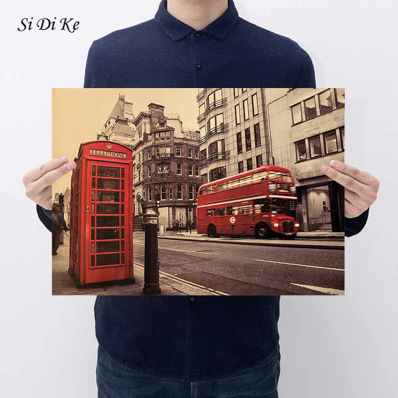 Si Di Ke Red Phone Booth and Red Bus In London Kraft Paper Bar Poster Retro Poster Decorative Painting