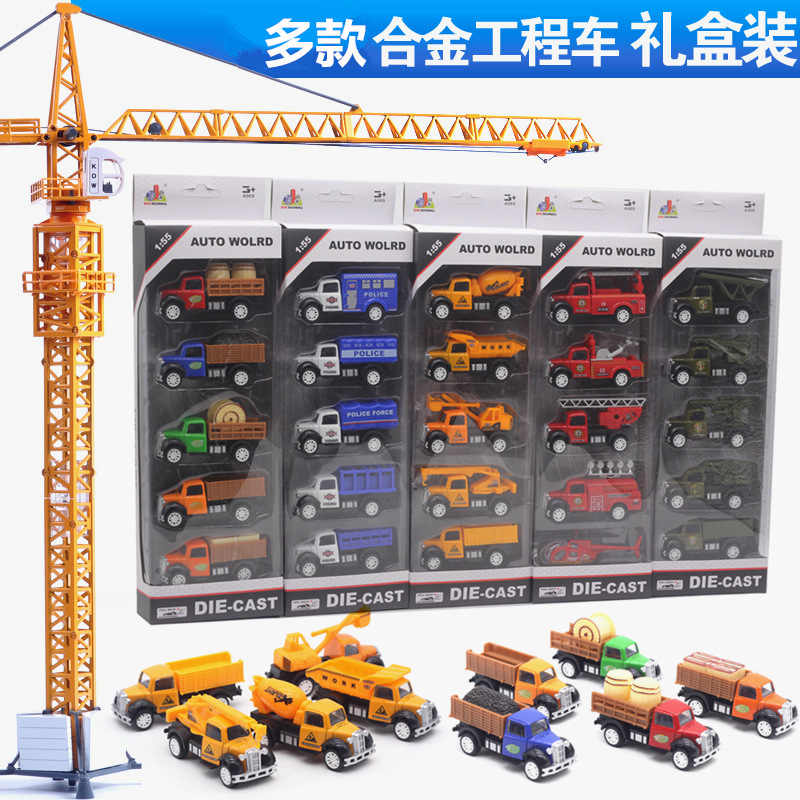 1:64 5Pcs/Set Diecast Alloy Firefighting Car Model Aircraft Toy Military Police Construction Vehicle transport  Model Toys