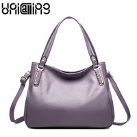 Fashion brand bags female Simple leisure All match solid color Large capacity genuine leather handbag