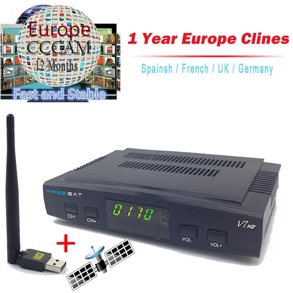 1 Anno Clines Server Freesat V7 Ricevitore Satellitare + Usb WiFi Spport DVB-S2 clines PowerVu YouTube Full 1080 P HD Europa spagna