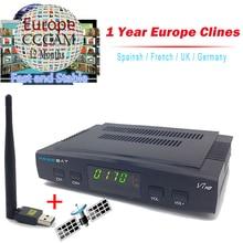 1 Año Cccam Servidor Freesat V7 Receptor de Satélite + Usb WiFi Spport DVB-S2 YouTube ccam PowerVu Cline Cccam HD Completo 1080 P Europa