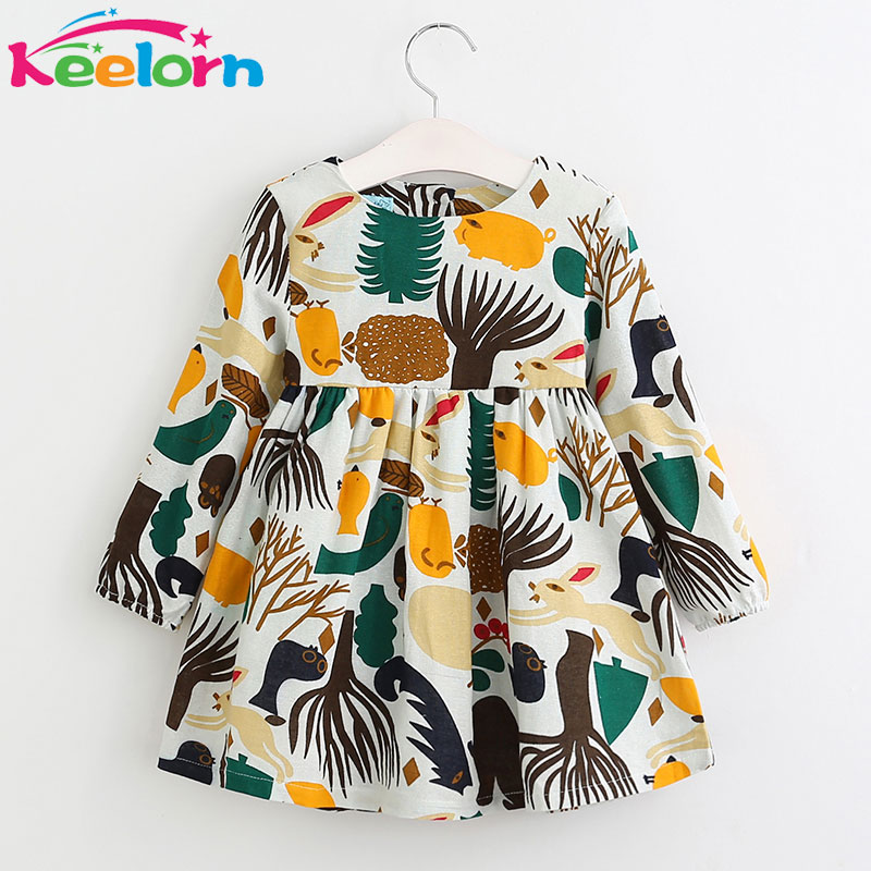 Keelorn Girls Dresses 2018 Autumn Winter Girls Dress O-neck Long Sleeve Cartoon Forest Animals Graffiti for Kids Clothes
