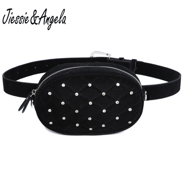 Jiessie&Angela Fashion New Brand Designer Women Waist Bag Women Belt Bag Lady Pouch Purse Waist Fanny Pack Shoulder Black Velvet
