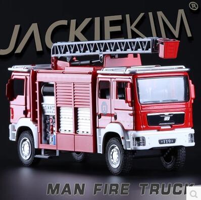 MAN fire truck 1 32 headed fire Ladder truck Kids Toy car model pull back sound