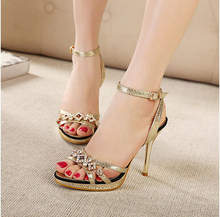 Dropshipping Best Selling Size 35-39 Gold Rhinestone Desgin High Heel Pumps Sexy Woman Sandals Fashion Girl Footwears ML2165