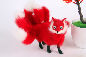 large 23x12 red standing fox model ,polyethylene&furs handicraft Figurines home decoration toy gift a2793
