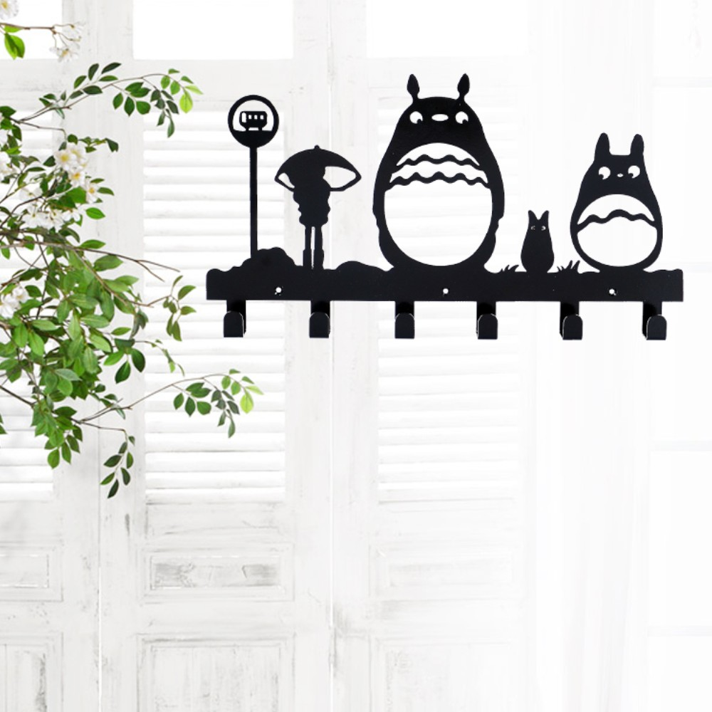 Cartoon Metal Home Wall Decorativefor 6 Hooks Hanger Organizer For Cloth Bag Key