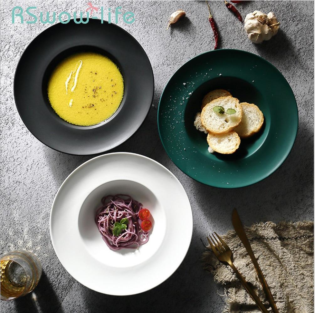9-inch Matte Glazed Straw Hat Plates Ceramic Plate Pasta Dish Western Dish Soup Plate Restaurant Supplies For Kitchen Supplies