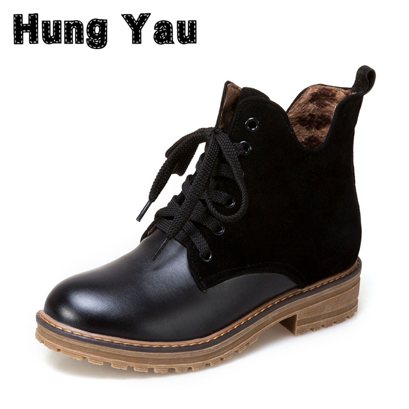 Hung Yau Women Ankle Boots Genuine Leather Lace Up Land Black Shoes Fashion Warm Snow Winter Boots Plus Size 43 zapatos mujer цена и фото