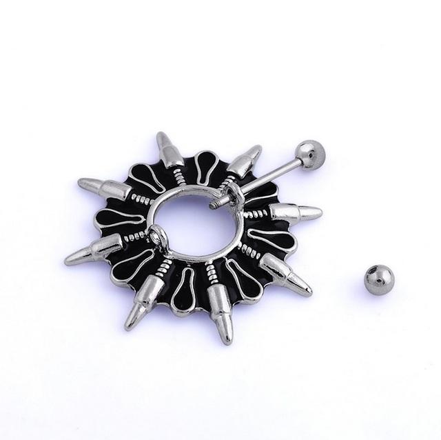 2Pcs New Punk Radiation Bullets Shape Nipple Piercing, Sexy Bar Rings Jewelry Nipple Helix Tragus Women Men Gift