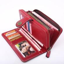 все цены на Hot Sale Women Clutch Leather Wallet Female Long Wallet Women Zipper Hasp Purse Strap Money Bag Button Phone Purses онлайн