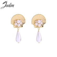 Joolim Gold & White Enamel Shell Shape Pearl Drop Earring Delicate Danlge for Women Korean