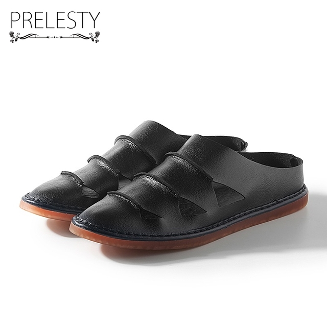 Prelesty Men Summer Shoes Microfiber Sandals Slip on Breathable Comfortable Daily Beach Holiday Fashion Handmatailor Dropshippin