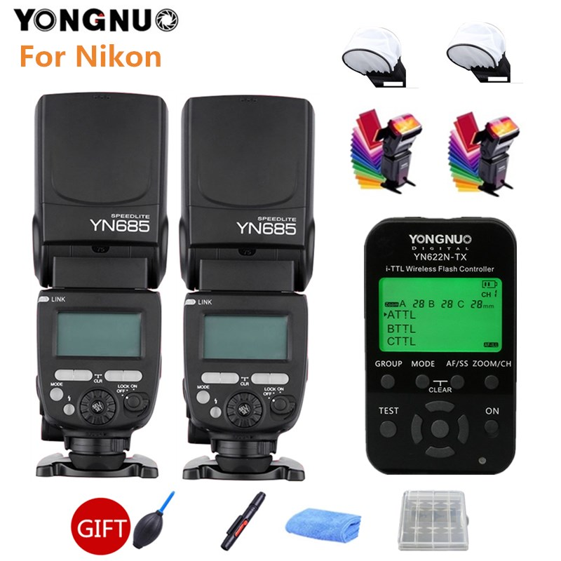купить 2PCS YONGNUO YN685N Speedlit YN685 Wireless HSS TTL Flash Speedlight + YN622N-TX Trigger for Nikon D700 D3100 D3200 DSLR Camera по цене 3314.2 рублей