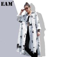 [EAM] 2019new осень зима лацканы с длинным рукавом белый печатных свободные нерегулярные большой размер длинная рубашка женская блузка Мода волна JF008