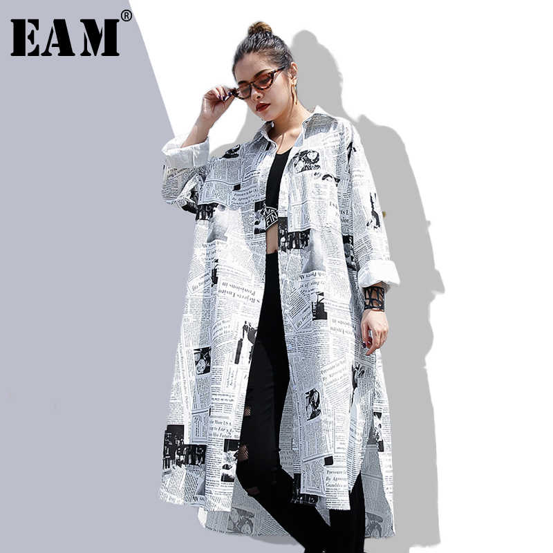 [EAM] 2019new Herfst Winter Revers Lange Mouw Wit Gedrukt Losse Onregelmatige Big Size Lange Shirt Vrouwen Blouse Mode tij JF008