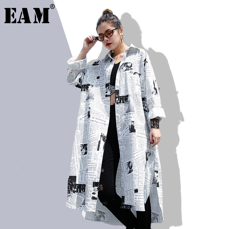 [EAM] 2019new Autumn Winter  Lapel Long Sleeve White Printed Loose Irregular Big Size Long Shirt Women Blouse Fashion Tide JF008