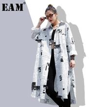 [EAM] 2019new Spring Summer Lapel Long Sleeve White Printed Loose Irregular Big Size Long