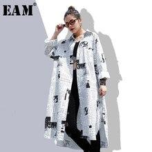 [EAM] 2021 nuova primavera autunno bavero manica lunga bianco stampato sciolto irregolare camicia lunga di grandi dimensioni camicetta donna moda marea JF008