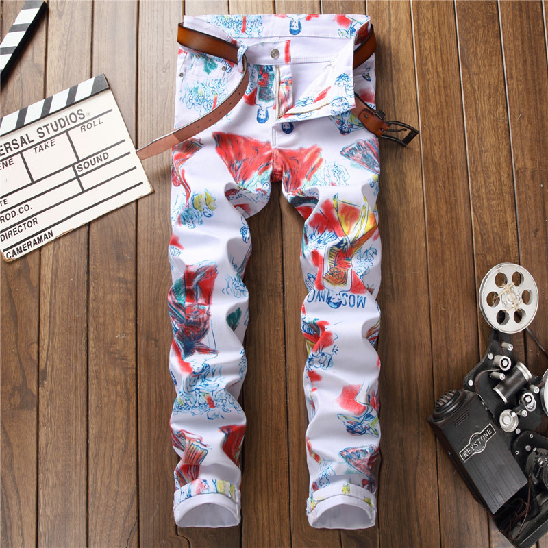 Designer 2018 Men Jeans Printed Spring Biker Hip Hop Print Ripped Skinny Jeans Denim Pants White Man Punk Trousers Streetwear