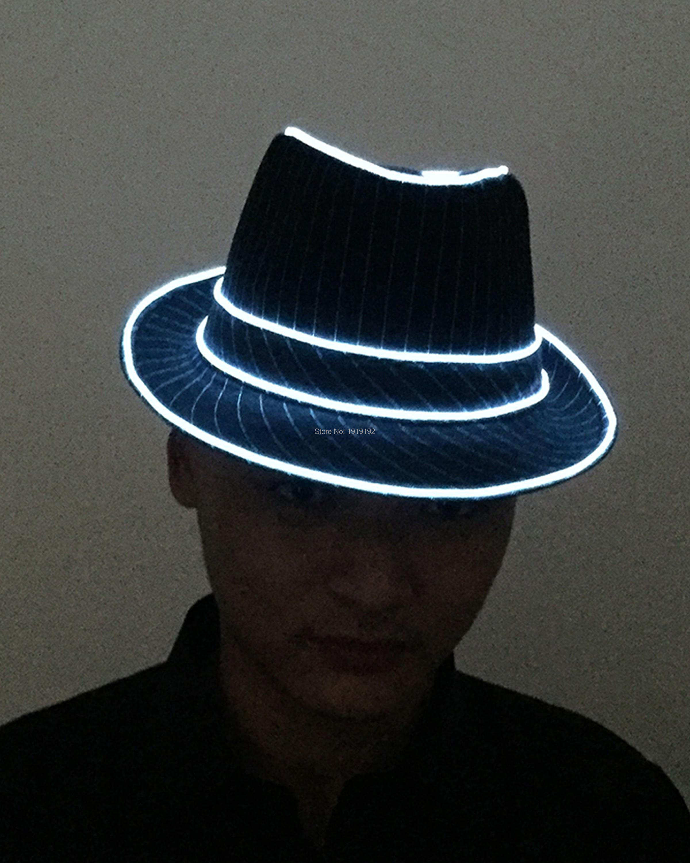 Free Shipping Birthday gift 10 Color Available LED Neon Light EL Hats Glow Caps Flashing Powered by DC-1.5V Party Hat