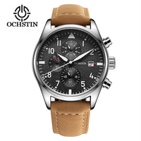 OCHSTIN Mens Watches Top Brand Luxury 6 Hand Function Chronograph Watch Military Men S Leather Wrist