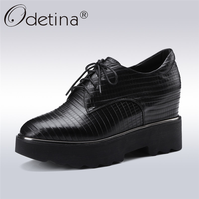 Odetina 2018 New Fashion Women Genuine Leather Pumps Chunky Heels Casual Shoes Platform Lace Up Hidden Heels Pumps Big Size 42 odetina 2018 new fashion women wedges pumps women comfort hidden heel casual hook