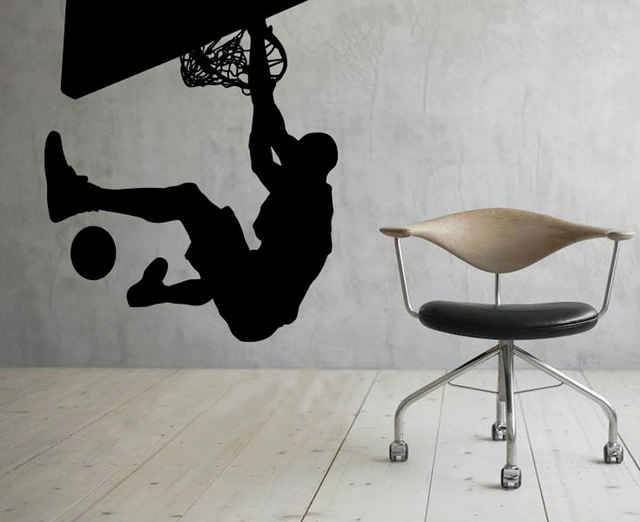 NBA Slam Dunk Basketball Sport WALL ART STICKER VINYL DECAL ROOM STENCIL REMOVABLE MURAL HOME OFFICE DORM DECOR
