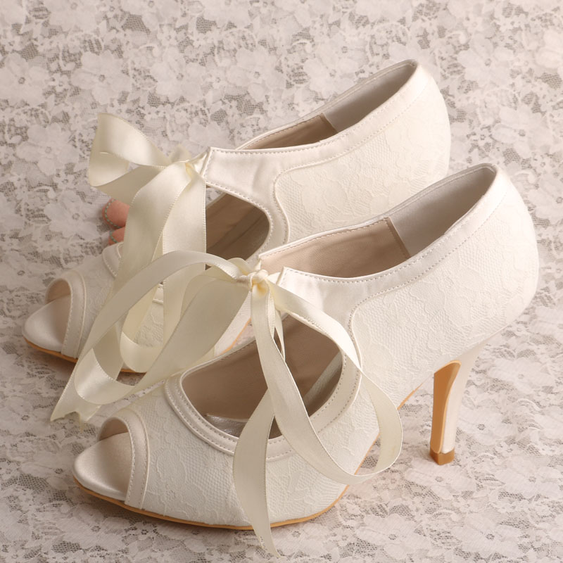wedopus mw405 women ivory lace mary jane wedding bridal shoes peep toe 9cm heelchina
