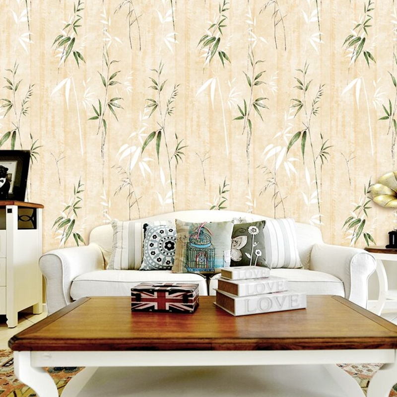 New Chinese Style Bamboo Waterproof Wallpaper Bedroom Living Room Sofa Background Decorative Wallpaper Roll