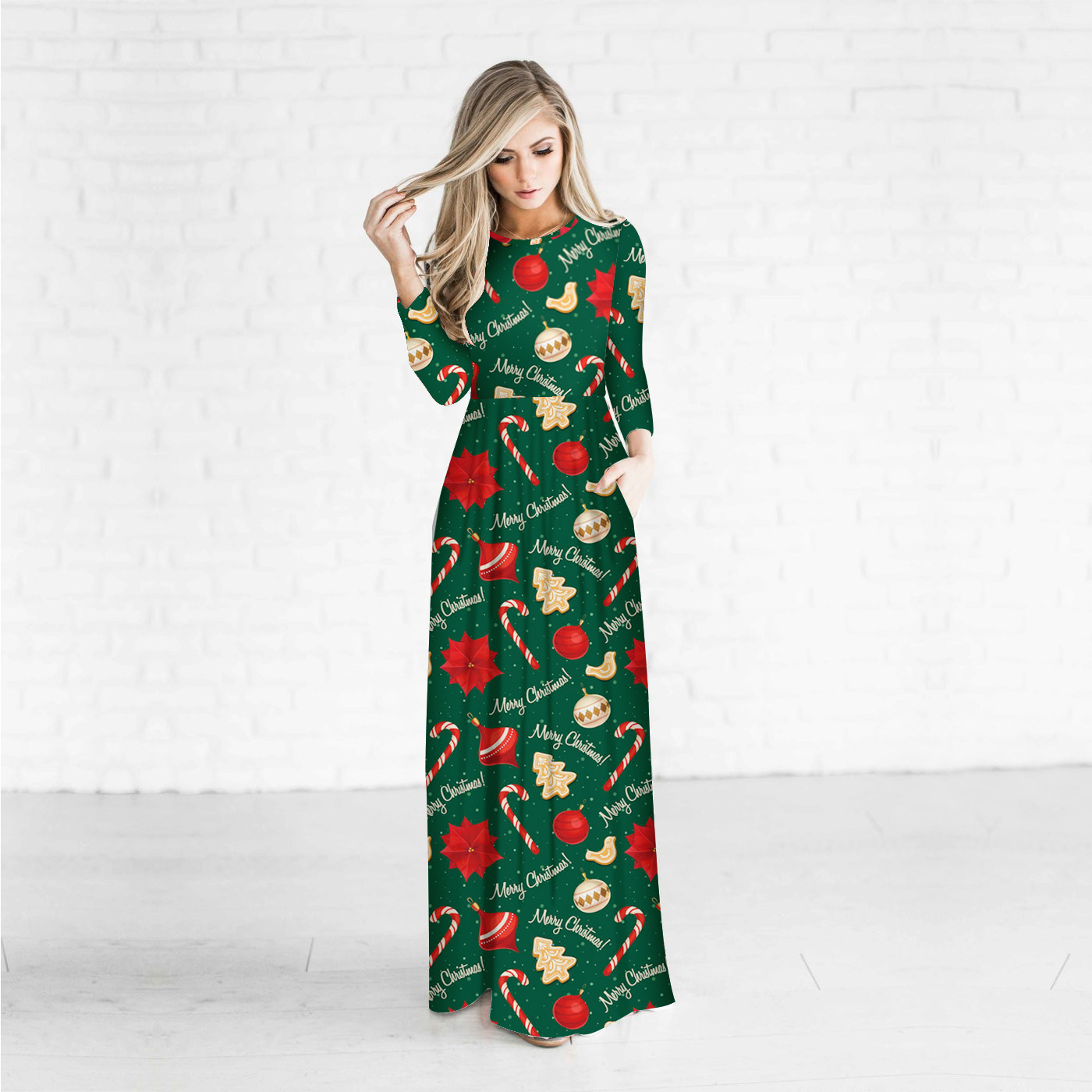 Fashion Design Clothes 2017 Novelty 3D Christmas Gift Green Dress Wrist Sleeve O neck Sexy Pleated Women Dress Vintage Dresses