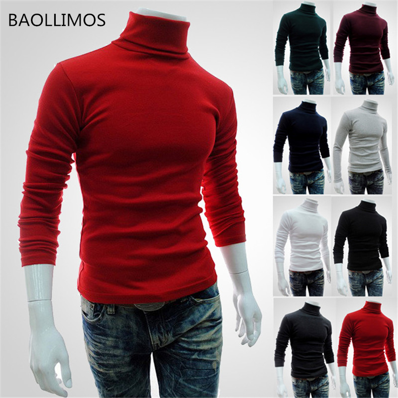 Autumn Winter Mens Sweaters For 2019 Warm Fashion Knitted Sweater Men Turtleneck Solid Color Casual Sweater Pullovers