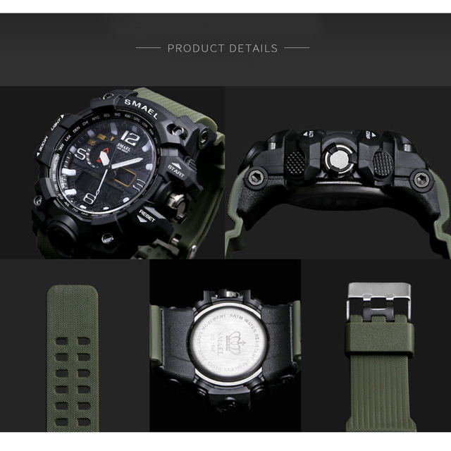 SMAEL Brand Men Sports Watches Dual Display Analog Digital LED Electronic Quartz Wristwatches Waterproof Swimming Military Watch 4