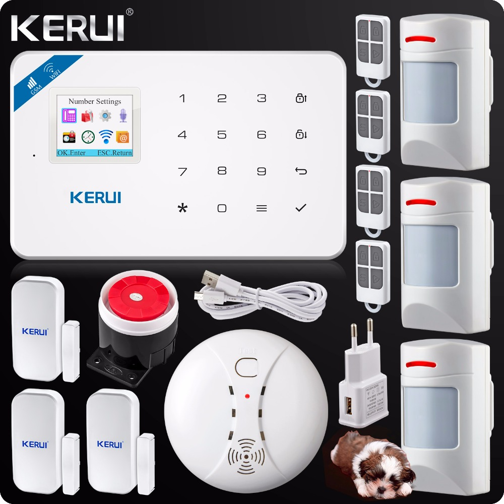 2018 Kerui W18 Wireless Wifi GSM IOS Android APP Control LCD GSM SMS Home Burglar Alarm System Pet Immune PIR Detector Anti-pet