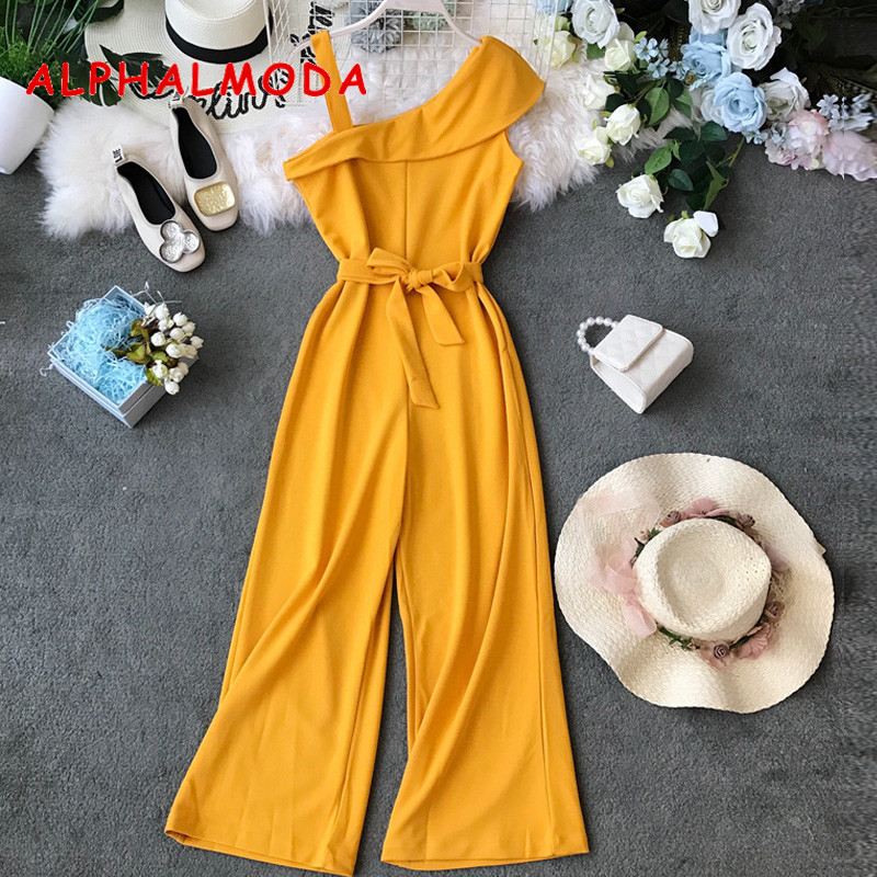 ALPHALMODA Single Shoulder Ladies Solid Rompers High Waist Sashes Women Summer Candy Color Fashion Sleeveless Casual Jumpsuits