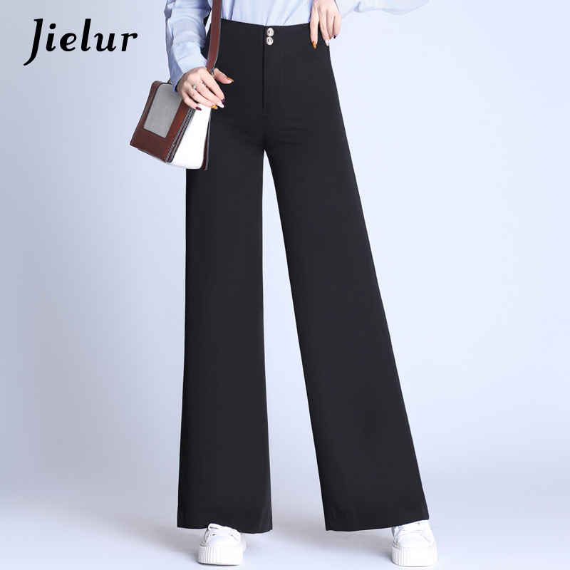 Jielur 2019 Autumn High Waist   Wide     Leg     Pants   Female Oversized Loose Straight Trousers for Women Formal Elegant Office Lady   Pants