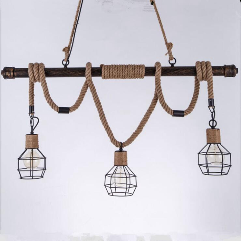 LuKLoy Vintage 3 Heads Pendant Light Retro Hanging Lamp for Kitchen Island Living Room Dining Table Cafe Lighting Fixture