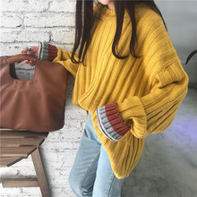 Loose Knit Sweater For Women Coarse Wool Knitting Jumper Solid Autumn Winter Knitwear Casual Female Oversized Sweaters 2018 New
